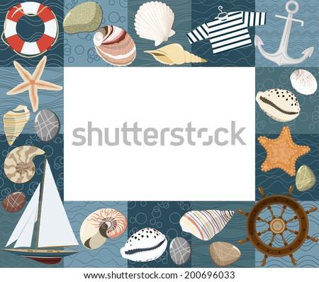 Baby marine photo frame or card. Vector illustration - stock vector
