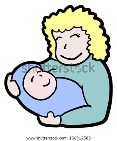 Baby mother - stock vector
