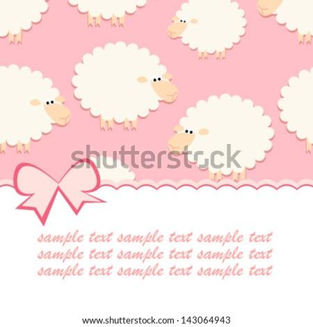 baby pink sheep card - stock vector