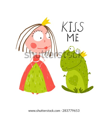 Baby Princess and Frog Asking for Kiss. Kids love story cute and fun colored illustration. - stock vector