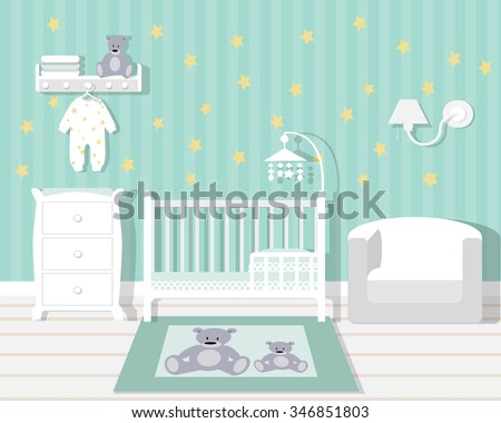 Baby room with furniture/Nursery interior/Flat style vector illustration/wall/Baby room/Nursery room/Baby room in Flat style - stock vector