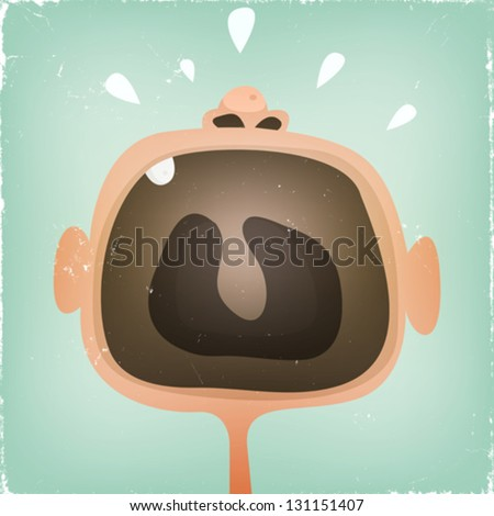 Baby's Mouth Screaming/ Illustration of a design funny cartoon baby mouth screaming and yelling with grunge texture over - stock vector