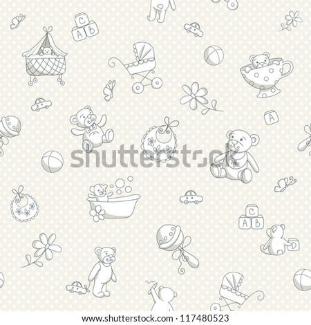 Baby seamless background - stock vector