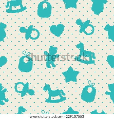 Baby seamless pattern. Blue, cream colors. Illustrations of rocking horse, pacifier, baby clothes, teddy bear, bib, star, heart on heart-shaped background.  - stock vector