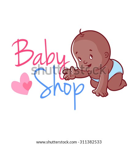 Baby shop logo. Cute toddler in diaper. Vector illustration on a white background. - stock vector