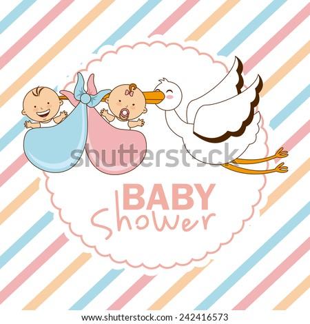 baby shower - stock vector
