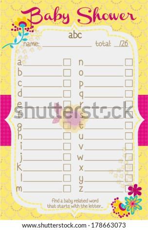 baby shower alphabet game bouquet stock vector