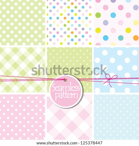 baby shower, baby background Set of cute seamless patterns - stock vector