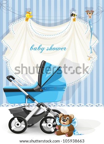Baby shower blue card - stock vector