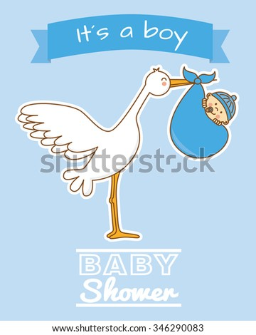 baby shower boy. stork and baby  - stock vector