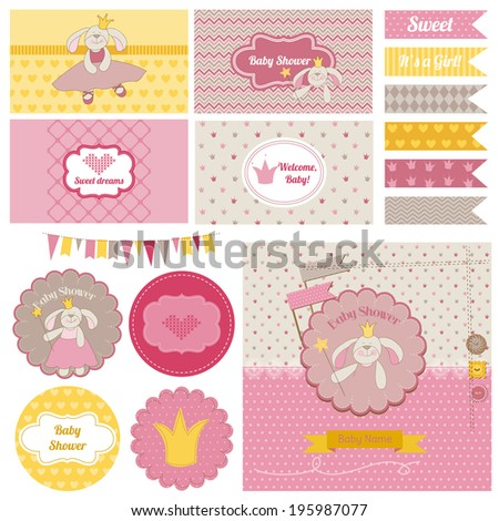 Baby Shower Bunny Party Set - for design and scrapbook - in vector - stock vector