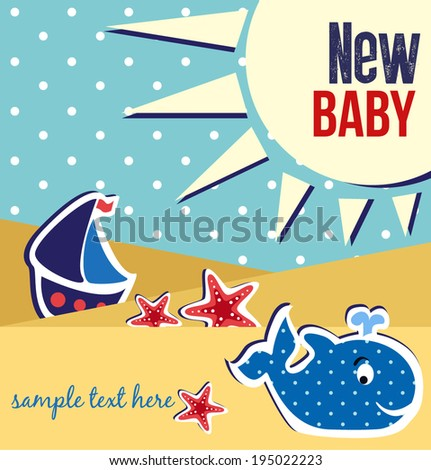 baby shower card design - stock vector