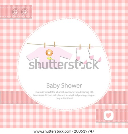 baby shower card for girl.Pink gingham background with clothing.Vector eps10,illustration. - stock vector