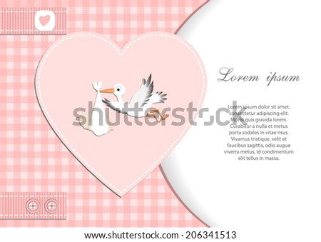 baby shower card for girl.Pink heart and gingham background with stork.Vector eps10,illustration. - stock vector