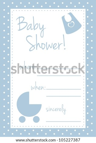 Baby shower card or invitation. Boy blue vector illustration with polka dots and white background place to put text message - stock vector