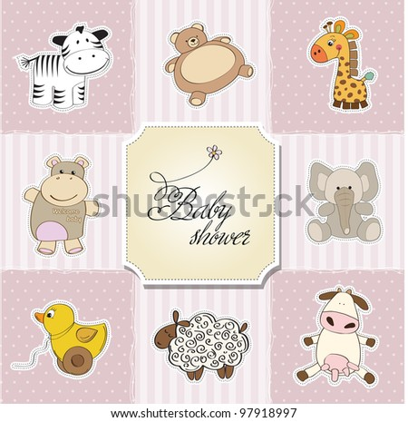 baby shower card template. vector illustration - stock vector