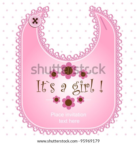 Baby shower card with a bib for a boy - stock vector