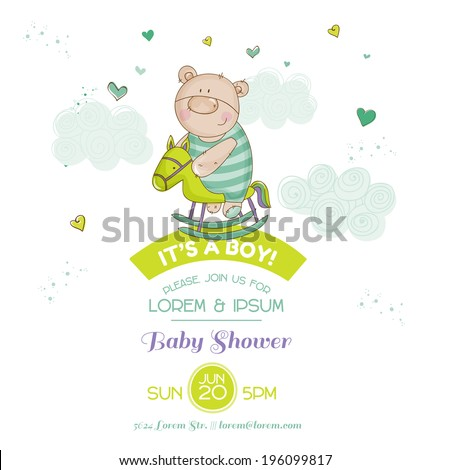 Baby Shower Card - with Baby Bear and Horse - in vector - stock vector