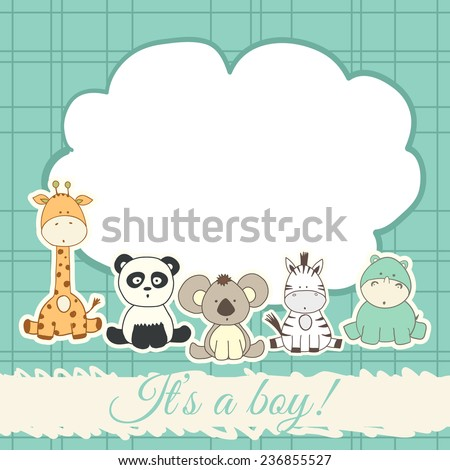 baby shower card with cartoon fun animals - stock vector