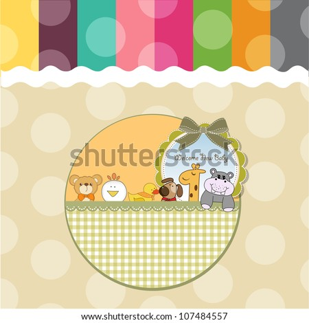 baby shower card with funny animals - stock vector