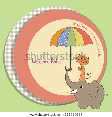 baby shower card with funny elephant and little cat under umbrella - stock vector