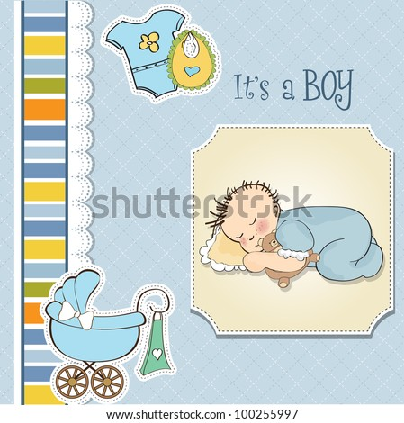 baby shower card with little baby boy sleep with his teddy bear toy - stock vector