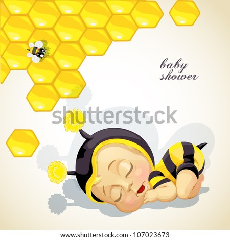 Baby shower card with newborn child dressed as bee - stock vector