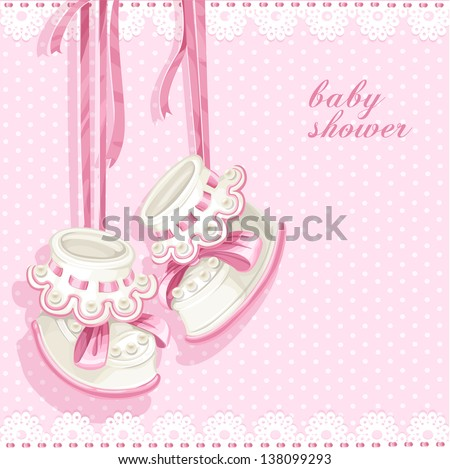 Baby shower card with pink booties and lace - stock vector