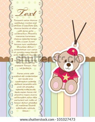 Baby shower card with teddy bear - stock vector