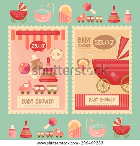 Baby Shower Cards. Vector Illustration.  - stock vector