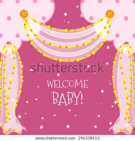 Baby Shower curtains frame with beads and buttons - stock vector