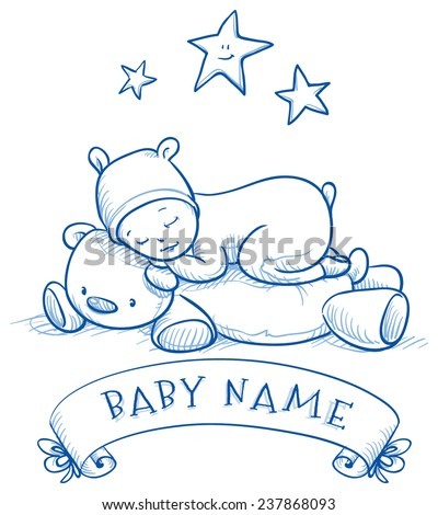 Baby shower. Cute Baby sleeping on teddy bear in bear costume, with banner for baby's name. Hand drawn doodle vector illustration. - stock vector