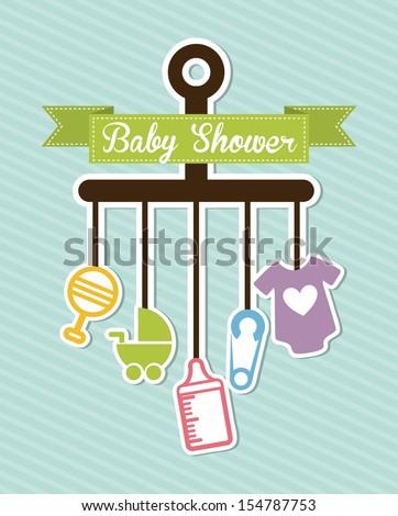 baby shower design over blue background vector illustration  - stock vector