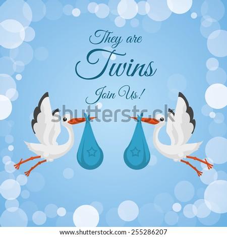 Baby shower design over blue background, vector illustration. - stock vector