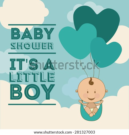 Baby Shower  design over blue background, vector illustration - stock vector