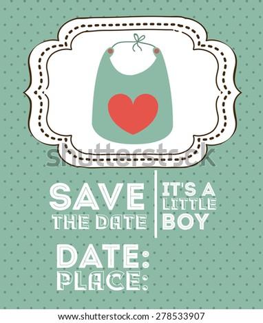 Baby Shower design over green background, vector illustration - stock vector