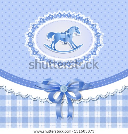 Baby shower for boy with horse, vector - stock vector