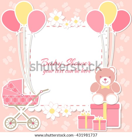 Baby shower girl, invitation card. Place for text.  Greeting cards. Vector illustration. Teddy bear with a gift box, pink background, butterfly,flower. - stock vector