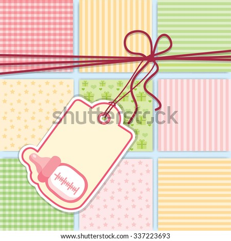 Baby Shower greeting Card for Girl with Baby Bottle. Vector Background Illustration. - stock vector