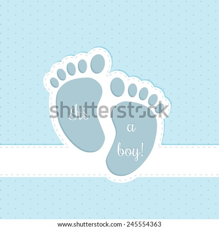 Baby shower greeting card invitation design for baby boys - stock vector