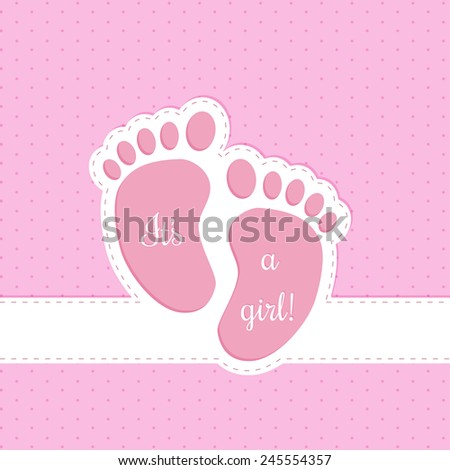 Baby shower greeting card invitation design for baby girls - stock vector