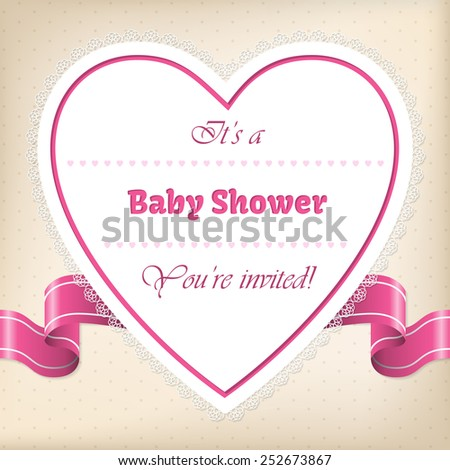 Baby shower greeting card with heart and ribbon - stock vector