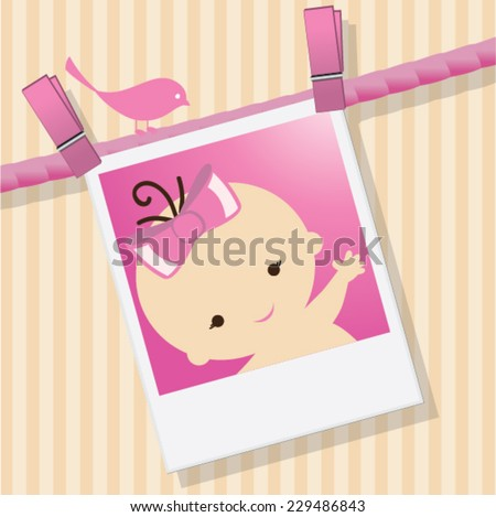 Baby shower invitation/Announcement template vector / illustration. baby arrival Unique Greeting card. Its A Girl. Welcome baby card - stock vector