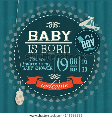 Baby Shower Invitation Baby Boy is Born - stock vector