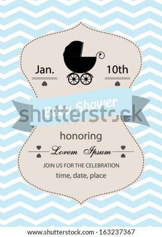 baby shower invitation card,baby boy.Vector eps10, illustration. - stock vector