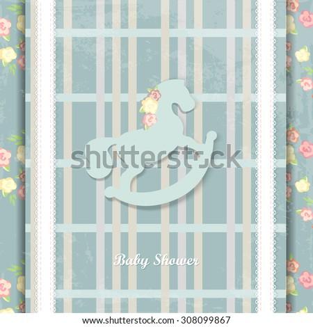 baby shower invitation card design. eps10. blue background - stock vector