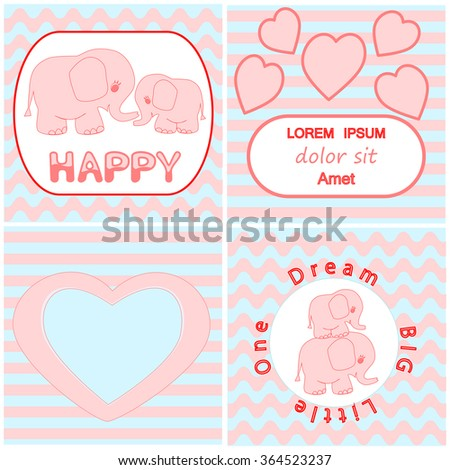 Baby shower invitation card set including Cartoon pink baby elephant card, Heart and wavy stripes background cards for Invitations, t-shirt prints, wallpaper, greeting card template - stock vector