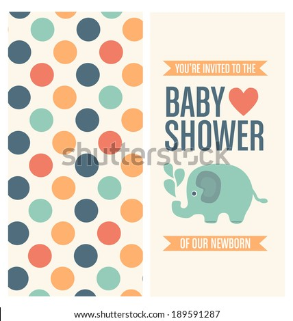 Baby Shower Invitation Card Template - stock vector