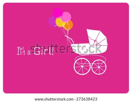 baby shower invitation card, vintage baby carriage and colorful balloons to announce the birth of a little woman - stock vector