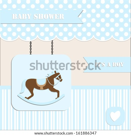 baby shower invitation, for baby boy  polka dot and stripe background with  rocking horse.Vector eps10,illustration.Raster also available.  - stock vector